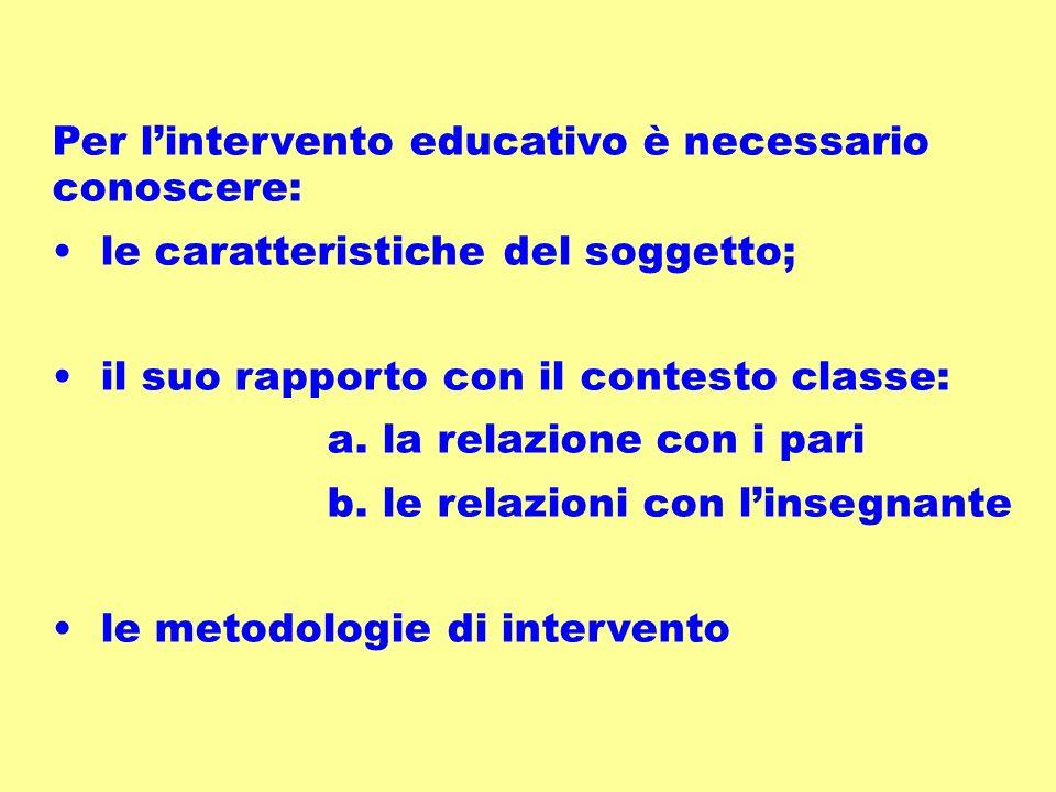 Per lintervento educativo è necessario conoscere: le caratteristiche del soggetto; il suo rapporto con il contesto classe: a.