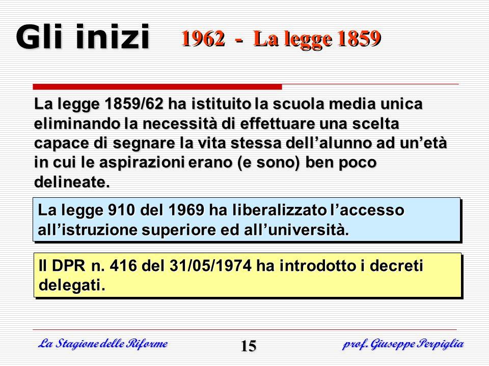 1962 - La legge 1859 1962 - La legge 1859 Gli inizi La legge 1859/62 ha istituito la scuola media unica eliminando la necessità di effettuare una scel