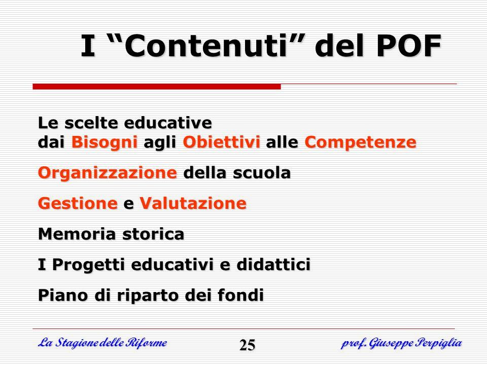 I Contenuti del POF Le scelte educative dai Bisogni agli Obiettivi alle Competenze Organizzazione della scuola Gestione e Valutazione Memoria storica