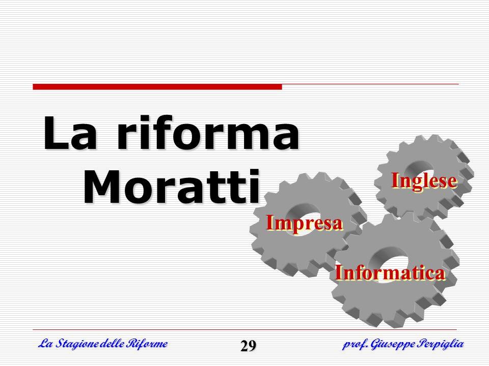 La riforma Moratti La Stagione delle Riforme prof. Giuseppe Perpiglia 29 Inglese Inglese Informatica Informatica Impresa Impresa