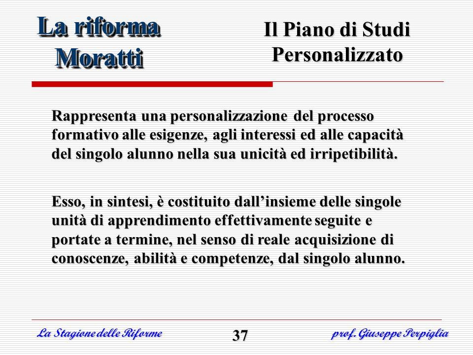 Il Piano di Studi Personalizzato Rappresenta una personalizzazione del processo formativo alle esigenze, agli interessi ed alle capacità del singolo a
