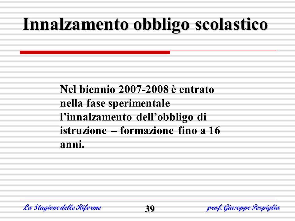 Innalzamento obbligo scolastico La Stagione delle Riforme prof. Giuseppe Perpiglia 39 Nel biennio 2007-2008 è entrato nella fase sperimentale linnalza