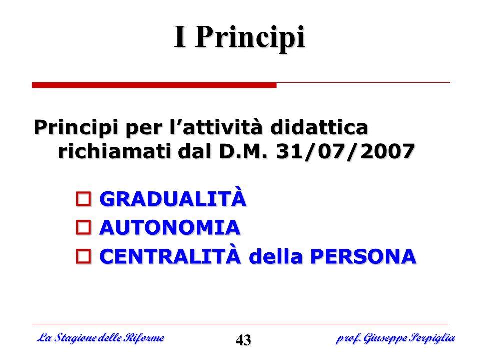 Principi per lattività didattica richiamati dal D.M. 31/07/2007 GRADUALITÀ AUTONOMIA CENTRALITÀ della PERSONA I Principi GRADUALITÀ AUTONOMIA CENTRALI