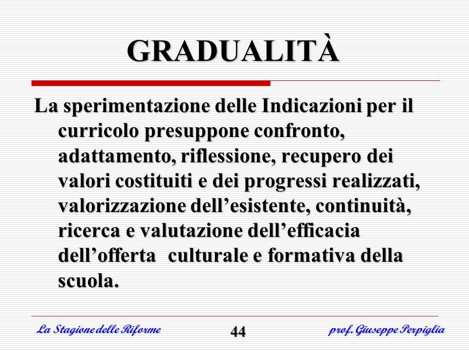 GRADUALITÀ La sperimentazione delle Indicazioni per il curricolo presuppone confronto, adattamento, riflessione, recupero dei valori costituiti e dei