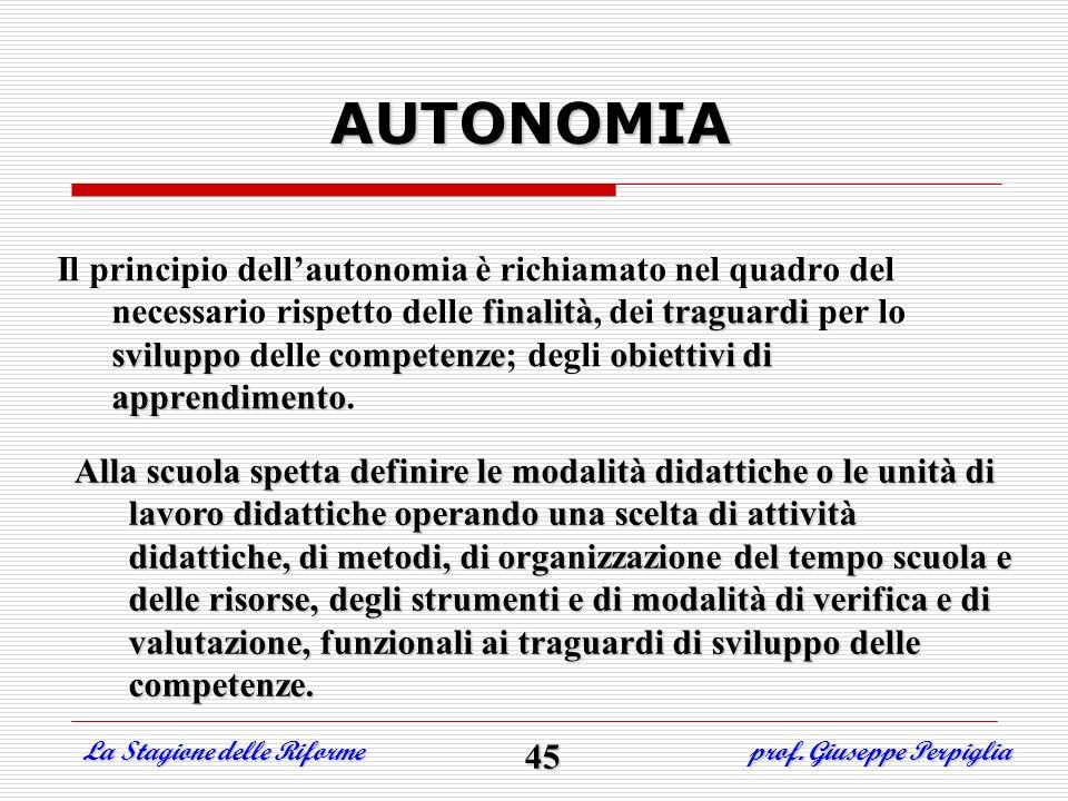 Il principio dellautonomia è richiamato nel quadro del necessario rispetto delle finalità finalità, dei traguardi traguardi per lo sviluppo sviluppo d