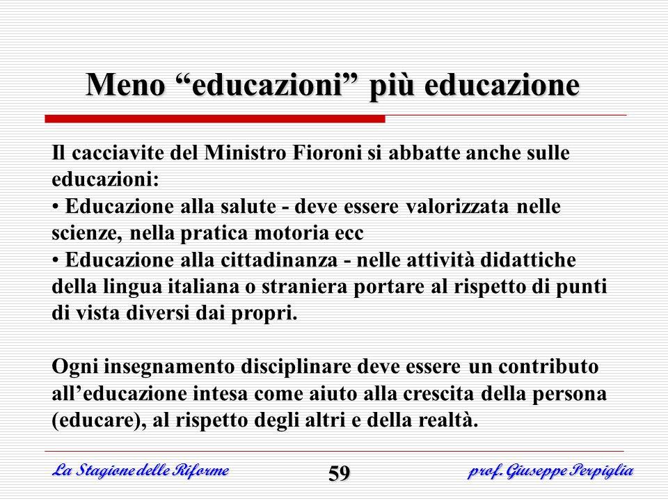 Meno educazioni più educazione Il cacciavite del Ministro Fioroni si abbatte anche sulle educazioni: Educazione alla salute - deve essere valorizzata