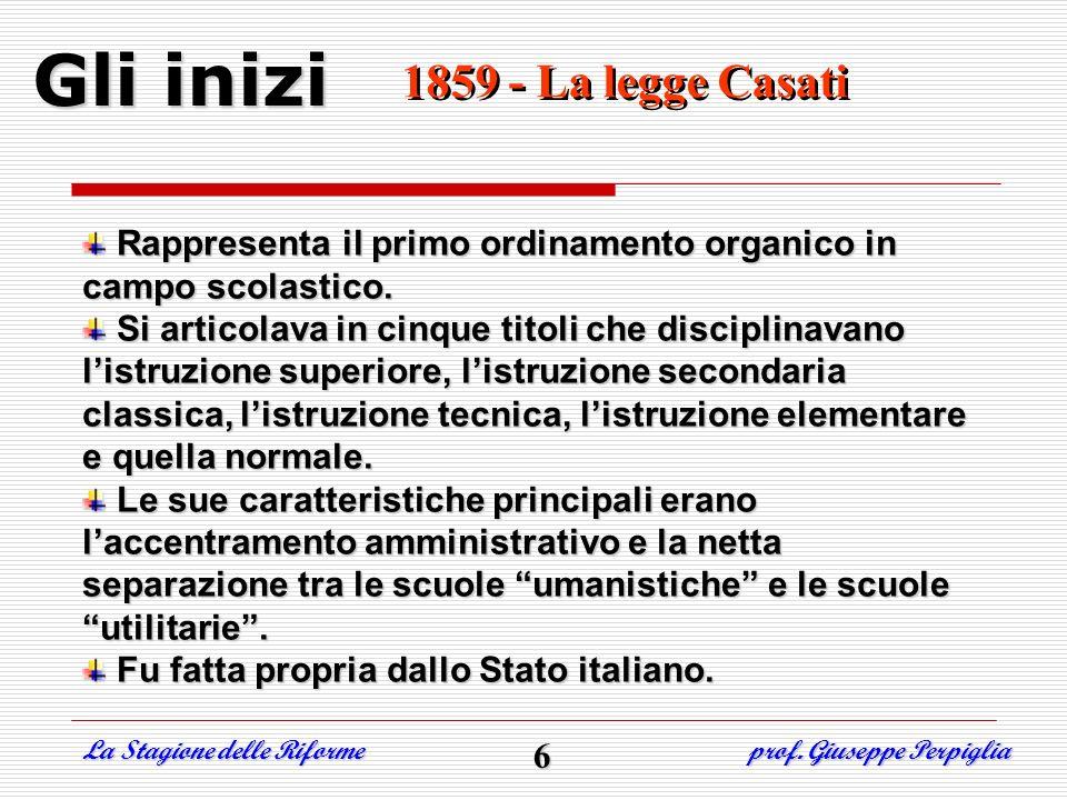 Gli inizi 1859- La legge Casati 1859- La legge Casati Rappresenta il primo ordinamento organico in campo scolastico. Si articolava in cinque titoli ch