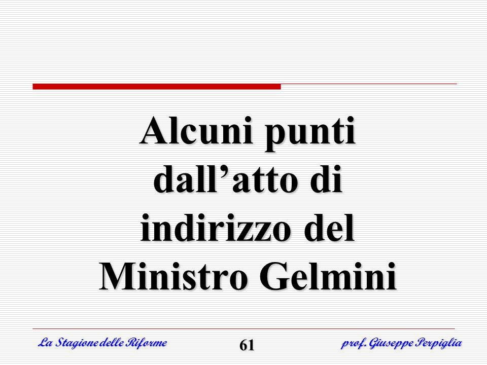 Alcuni punti dallatto di indirizzo del Ministro Gelmini La Stagione delle Riforme prof. Giuseppe Perpiglia 61