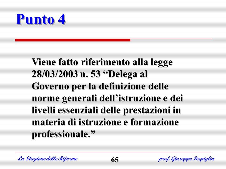 Punto 4 Viene fatto riferimento alla legge 28/03/2003 n. 53 Delega al Governo per la definizione delle norme generali dellistruzione e dei livelli ess
