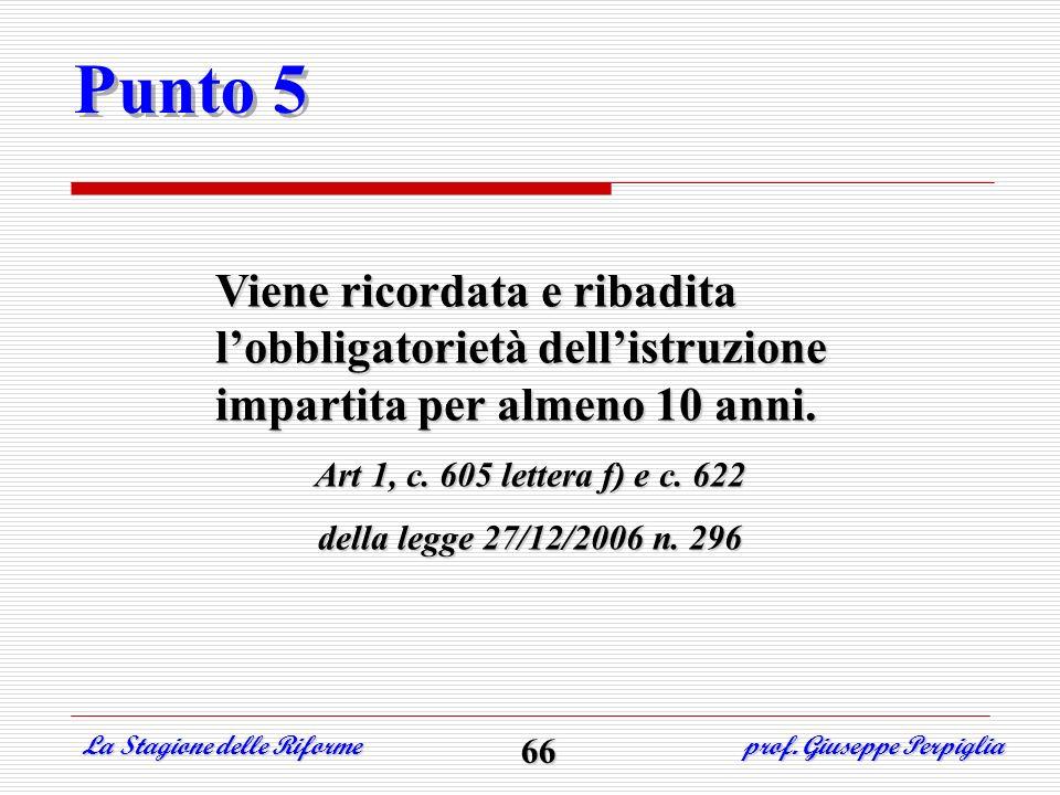 Punto 5 Viene ricordata e ribadita lobbligatorietà dellistruzione impartita per almeno 10 anni. Art 1, c. 605 lettera f) e c. 622 della legge 27/12/20