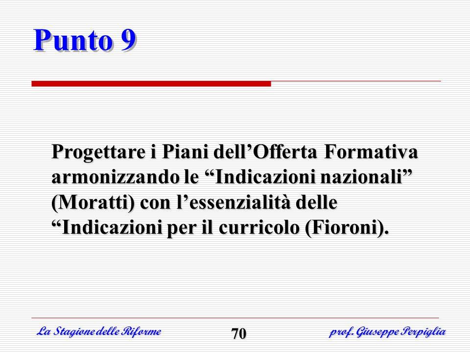 Punto 9 Progettare i Piani dellOfferta Formativa armonizzando le Indicazioni nazionali (Moratti) con lessenzialità delle Indicazioni per il curricolo
