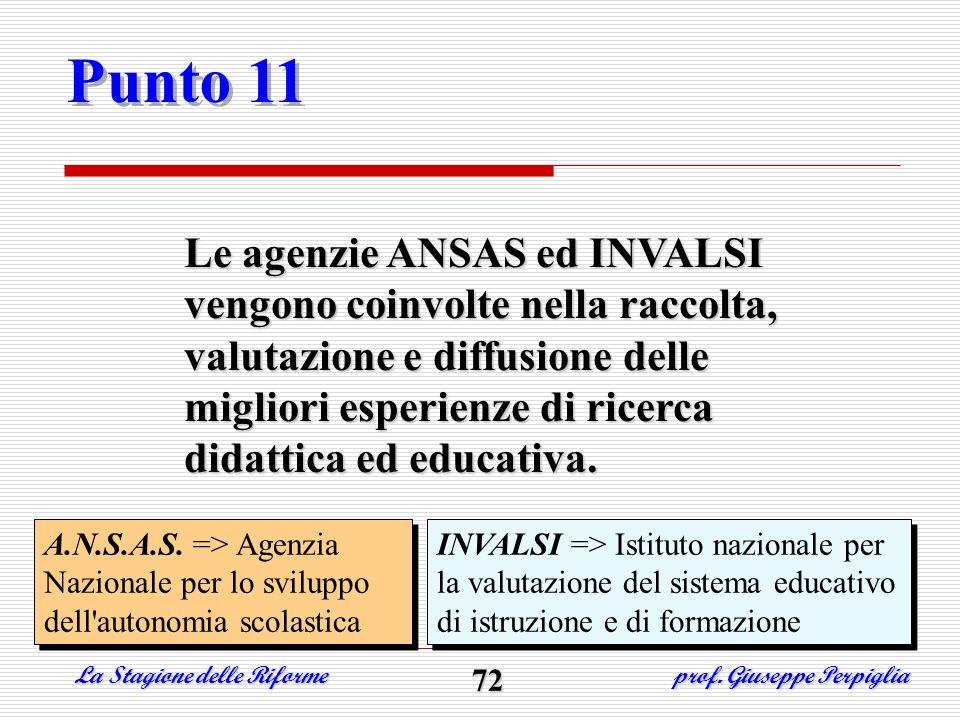 Punto 11 Le agenzie ANSAS ed INVALSI vengono coinvolte nella raccolta, valutazione e diffusione delle migliori esperienze di ricerca didattica ed educ
