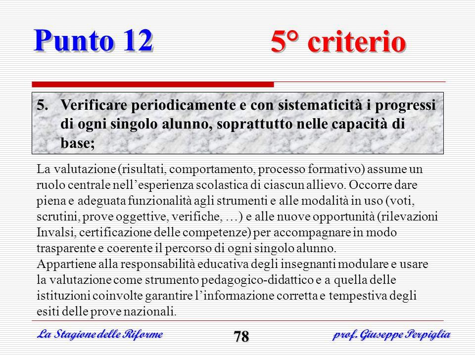 Punto 12 5° criterio 5.Verificare periodicamente e con sistematicità i progressi di ogni singolo alunno, soprattutto nelle capacità di base; La valuta