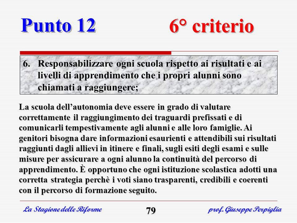 Punto 12 6° criterio 6.Responsabilizzare ogni scuola rispetto ai risultati e ai livelli di apprendimento che i propri alunni sono chiamati a raggiunge