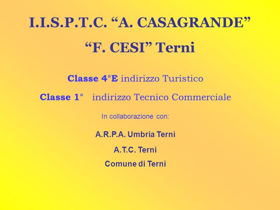 I.I.S.P.T.C. A. CASAGRANDE F. CESI Terni Classe 4°E indirizzo Turistico Classe 1° indirizzo Tecnico Commerciale In collaborazione con: A.R.P.A. Umbria