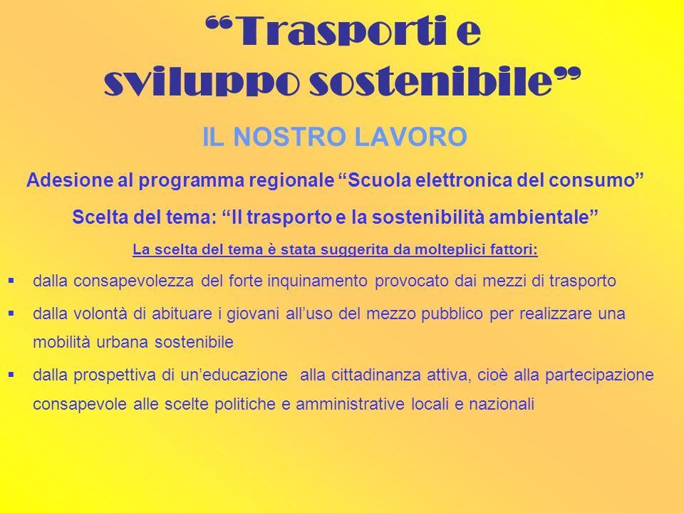 IL NOSTRO LAVORO Adesione al programma regionale Scuola elettronica del consumo Scelta del tema: Il trasporto e la sostenibilità ambientale La scelta