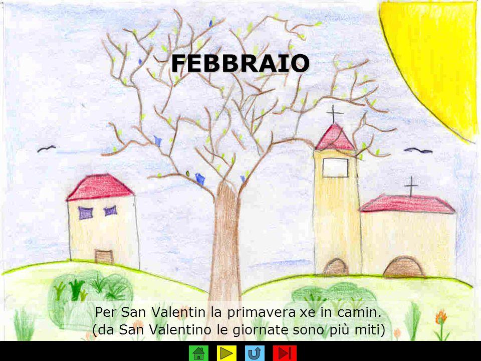 FEBBRAIO Per San Valentin la primavera xe in camin. (da San Valentino le giornate sono più miti)
