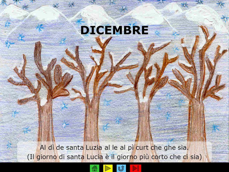 DICEMBRE Al dì de santa Luzia al le al pì curt che ghe sia. (Il giorno di santa Lucia è il giorno più corto che ci sia)