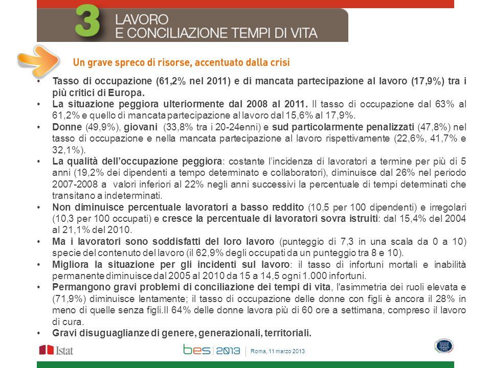 Tasso di occupazione (61,2% nel 2011) e di mancata partecipazione al lavoro (17,9%) tra i più critici di Europa. La situazione peggiora ulteriormente