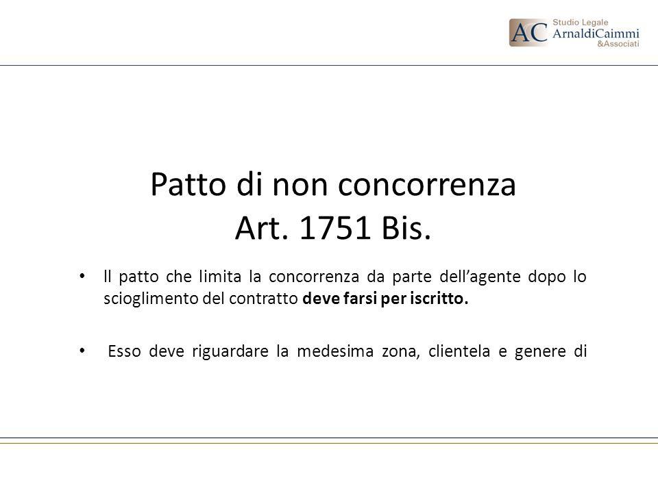 Patto di non concorrenza Art. 1751 Bis. ll patto che limita la concorrenza da parte dellagente dopo lo scioglimento del contratto deve farsi per iscri