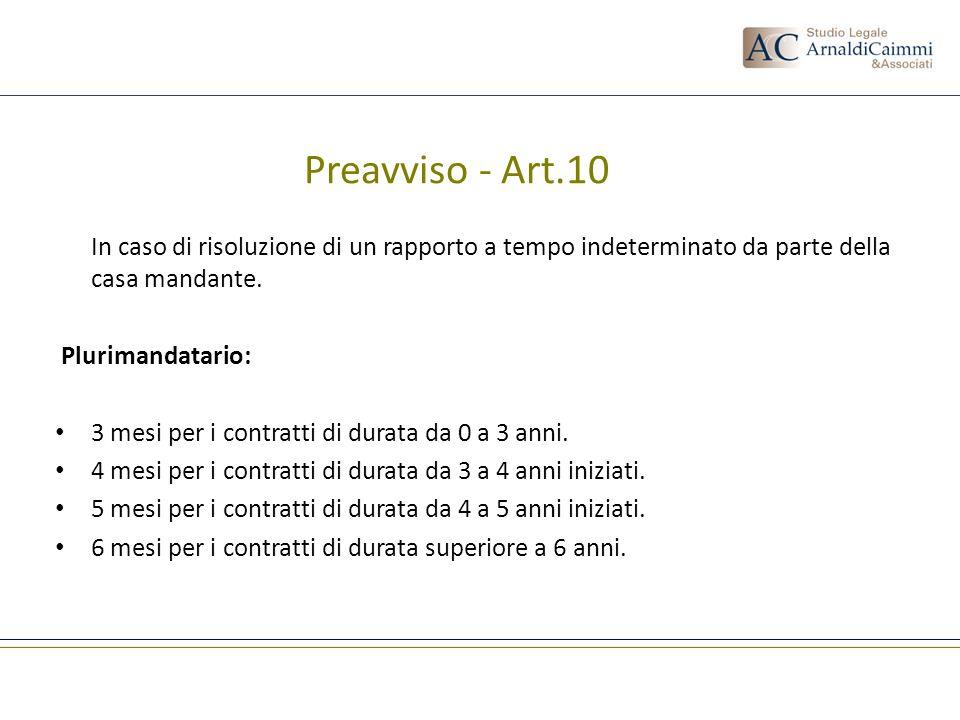 Preavviso - Art.10 In caso di risoluzione di un rapporto a tempo indeterminato da parte della casa mandante. Plurimandatario: 3 mesi per i contratti d