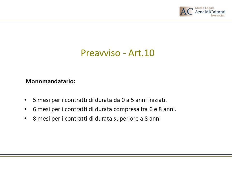 Preavviso - Art.10 Monomandatario: 5 mesi per i contratti di durata da 0 a 5 anni iniziati. 6 mesi per i contratti di durata compresa fra 6 e 8 anni.