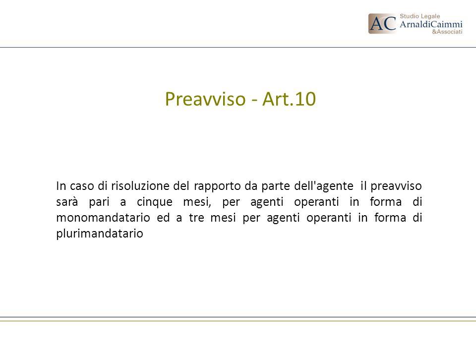 Preavviso - Art.10 In caso di risoluzione del rapporto da parte dell'agente il preavviso sarà pari a cinque mesi, per agenti operanti in forma di mono