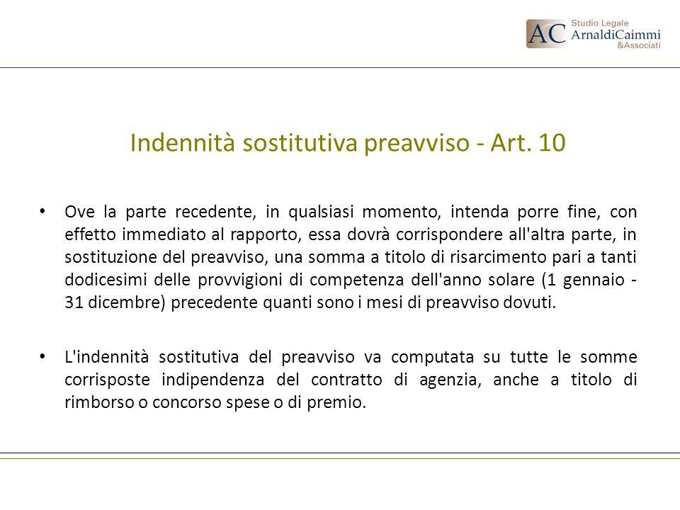 Indennità sostitutiva preavviso - Art. 10 Ove la parte recedente, in qualsiasi momento, intenda porre fine, con effetto immediato al rapporto, essa do