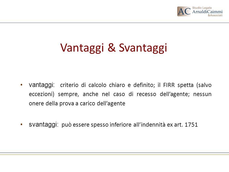 Vantaggi & Svantaggi vantaggi: criterio di calcolo chiaro e definito; il FIRR spetta (salvo eccezioni) sempre, anche nel caso di recesso dellagente; n