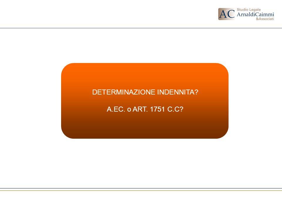 DETERMINAZIONE INDENNITA? A.EC. o ART. 1751 C.C?