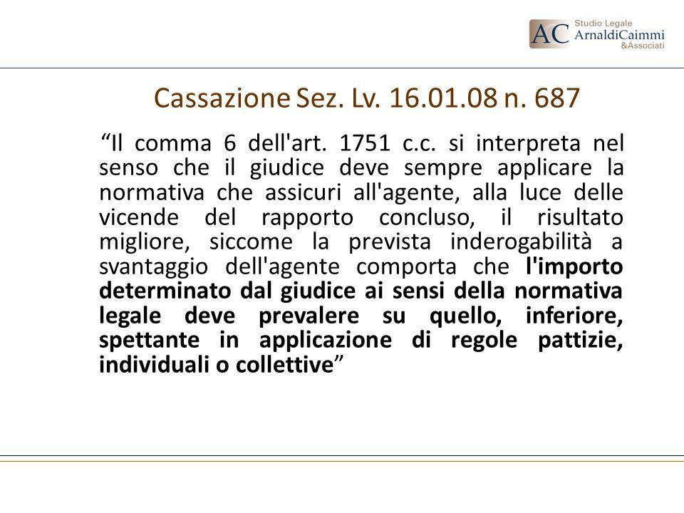 Il comma 6 dell'art. 1751 c.c. si interpreta nel senso che il giudice deve sempre applicare la normativa che assicuri all'agente, alla luce delle vice