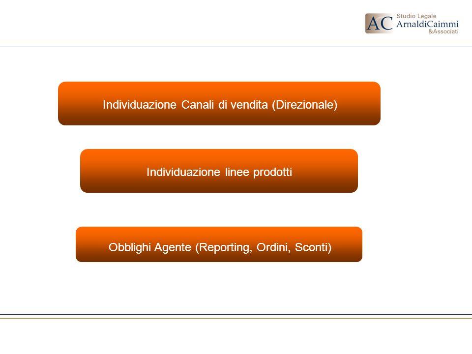 Individuazione linee prodotti Individuazione Canali di vendita (Direzionale) Obblighi Agente (Reporting, Ordini, Sconti)