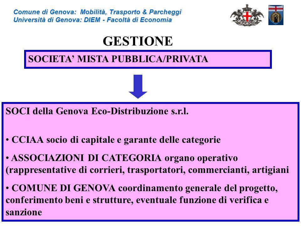 Comune di Genova: Mobilità, Trasporto & Parcheggi Università di Genova: DIEM - Facoltà di Economia GESTIONE SOCIETA MISTA PUBBLICA/PRIVATA SOCI della