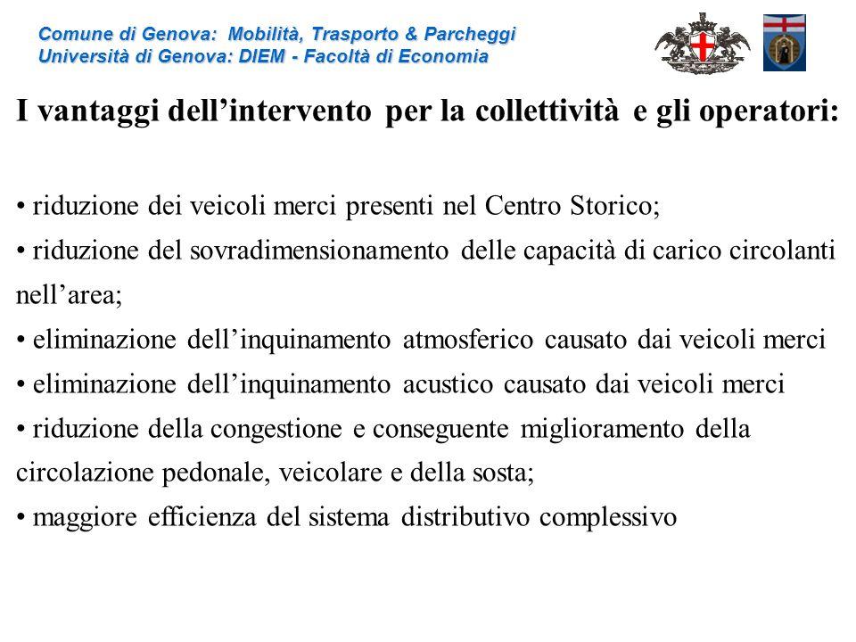 I vantaggi dellintervento per la collettività e gli operatori: riduzione dei veicoli merci presenti nel Centro Storico; riduzione del sovradimensionam