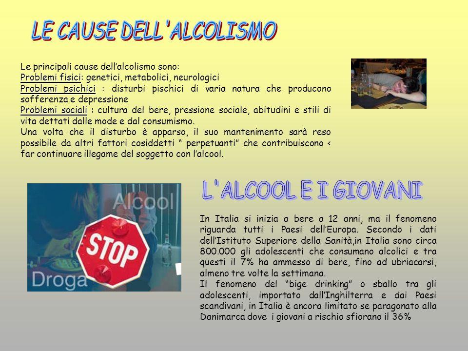 Le principali cause dellalcolismo sono: Problemi fisici Problemi fisici: genetici, metabolici, neurologici Problemi psichici Problemi psichici : distu