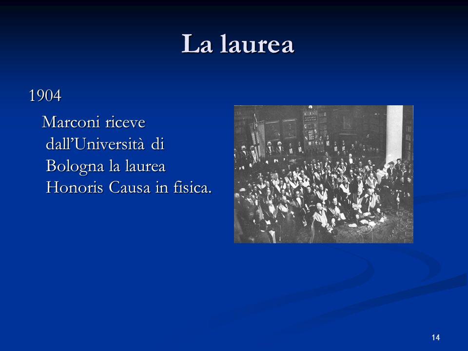 14 La laurea La laurea 1904 Marconi riceve dallUniversità di Bologna la laurea Honoris Causa in fisica. Marconi riceve dallUniversità di Bologna la la