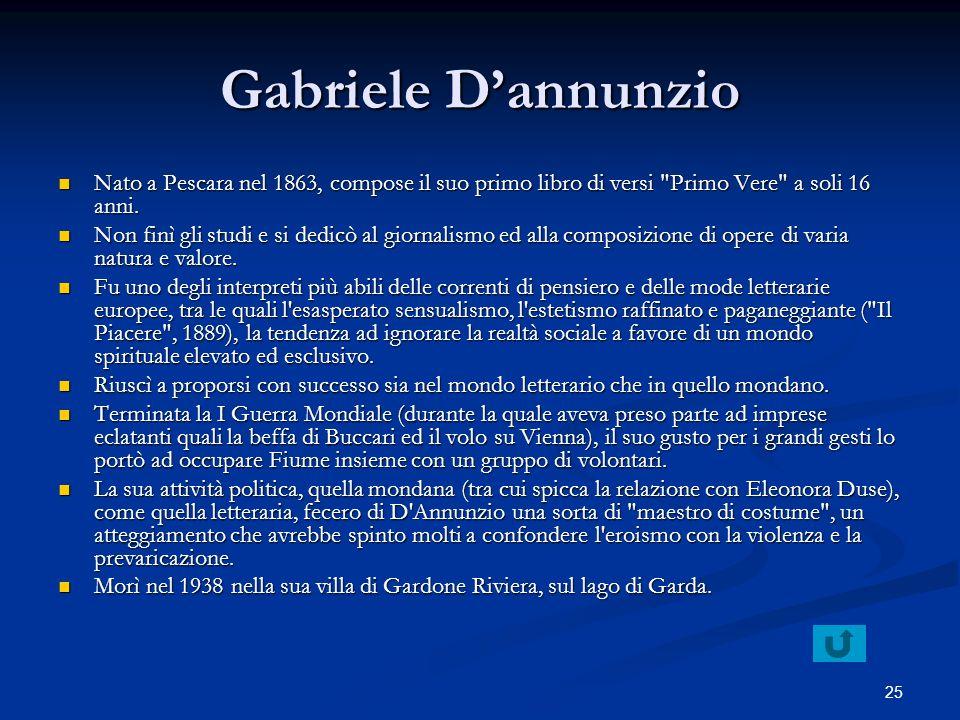 25 Gabriele Dannunzio Nato a Pescara nel 1863, compose il suo primo libro di versi