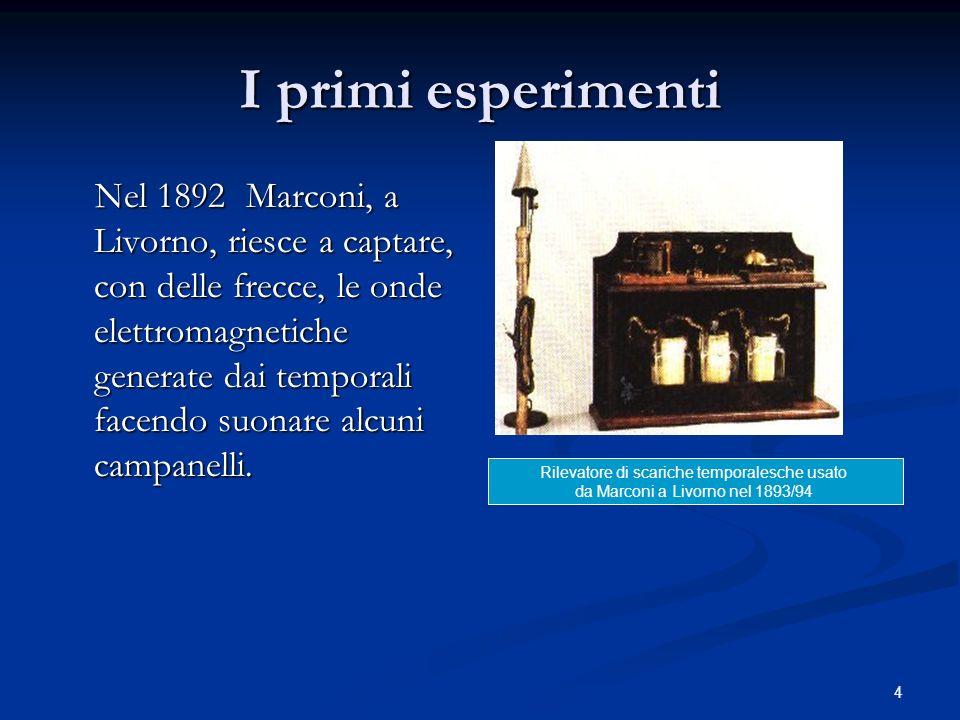 4 I primi esperimenti Nel 1892 Marconi, a Livorno, riesce a captare, con delle frecce, le onde elettromagnetiche generate dai temporali facendo suonar