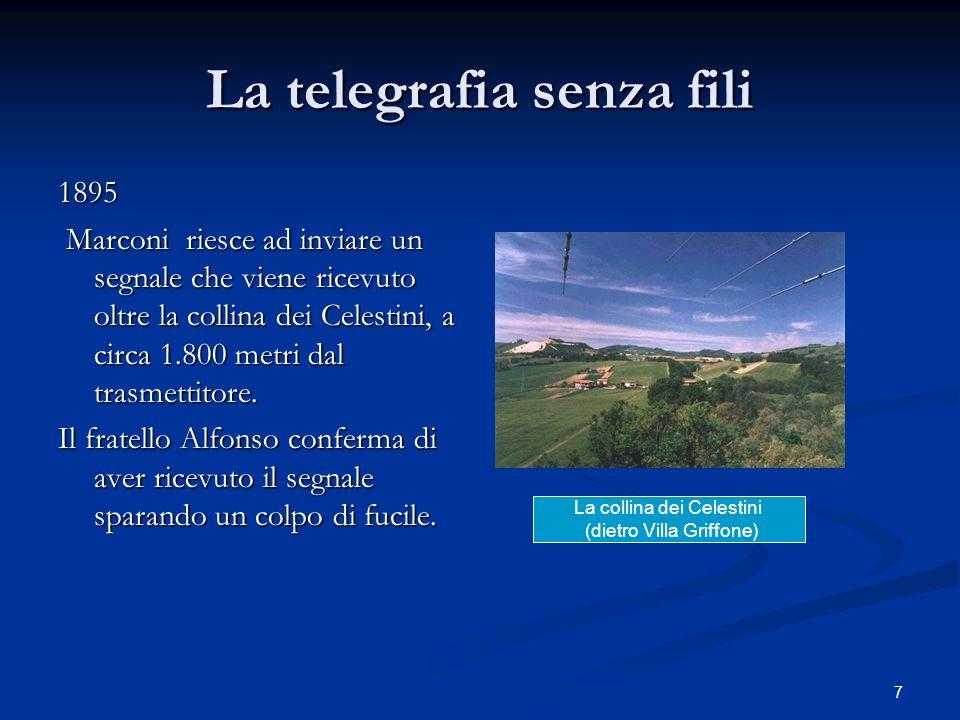 7 La telegrafia senza fili 1895 Marconi riesce ad inviare un segnale che viene ricevuto oltre la collina dei Celestini, a circa 1.800 metri dal trasme
