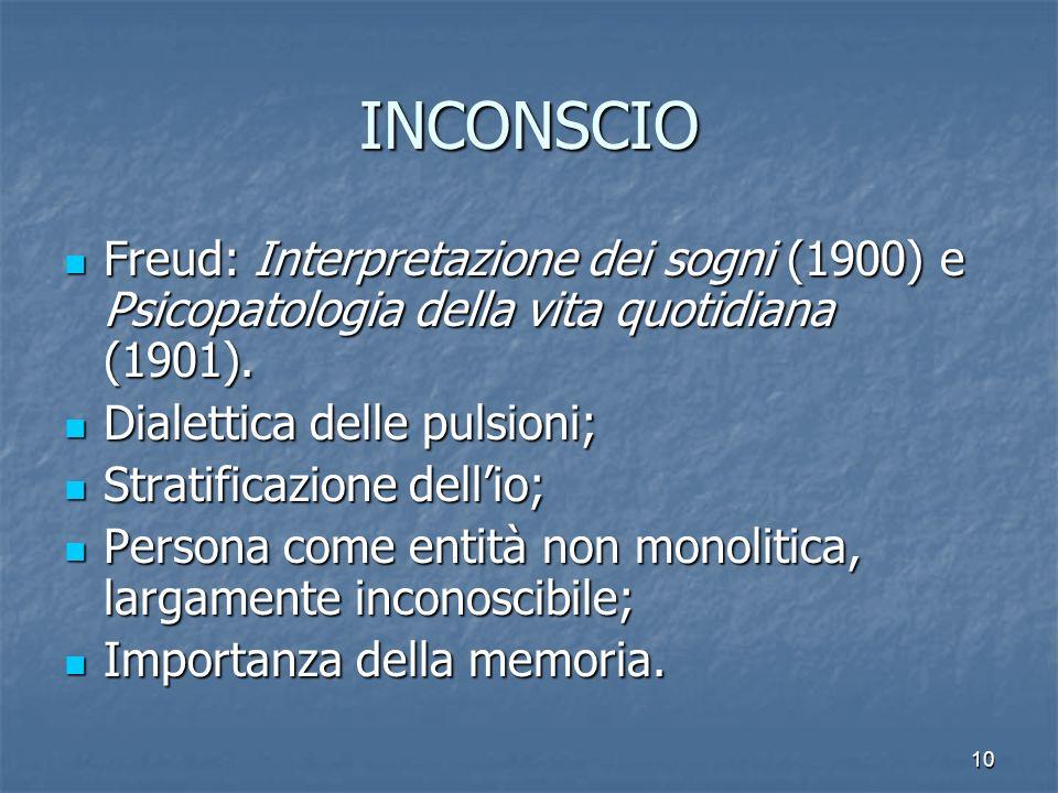 10 INCONSCIO Freud: Interpretazione dei sogni (1900) e Psicopatologia della vita quotidiana (1901). Dialettica delle pulsioni; Stratificazione dellio;
