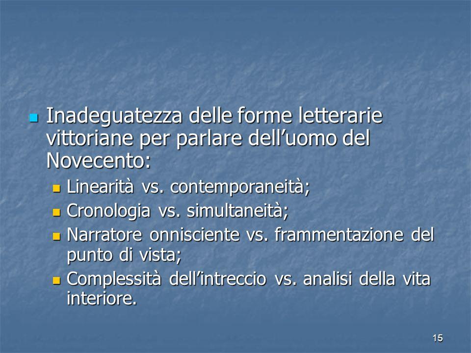 15 Inadeguatezza delle forme letterarie vittoriane per parlare delluomo del Novecento: Linearità vs. contemporaneità; Cronologia vs. simultaneità; Nar