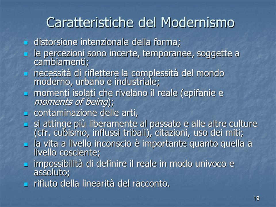 19 Caratteristiche del Modernismo distorsione intenzionale della forma; le percezioni sono incerte, temporanee, soggette a cambiamenti; necessità di r