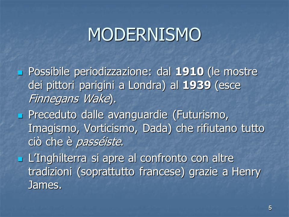 5 MODERNISMO Possibile periodizzazione: dal 1910 (le mostre dei pittori parigini a Londra) al 1939 (esce Finnegans Wake). Preceduto dalle avanguardie