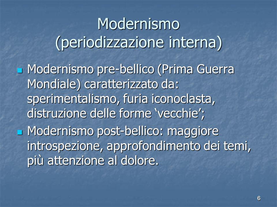 6 Modernismo (periodizzazione interna) Modernismo pre-bellico (Prima Guerra Mondiale) caratterizzato da: sperimentalismo, furia iconoclasta, distruzio
