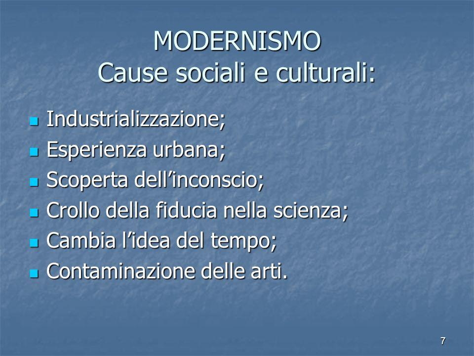 7 MODERNISMO Cause sociali e culturali: Industrializzazione; Esperienza urbana; Scoperta dellinconscio; Crollo della fiducia nella scienza; Cambia lid