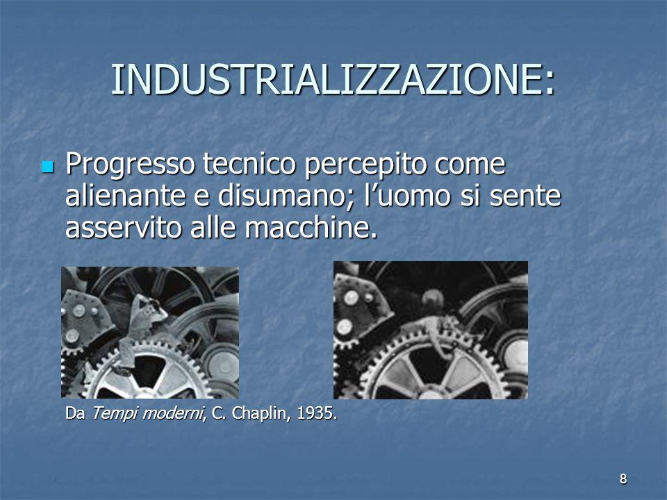 8 INDUSTRIALIZZAZIONE: Progresso tecnico percepito come alienante e disumano; luomo si sente asservito alle macchine. Da Tempi moderni, C. Chaplin, 19
