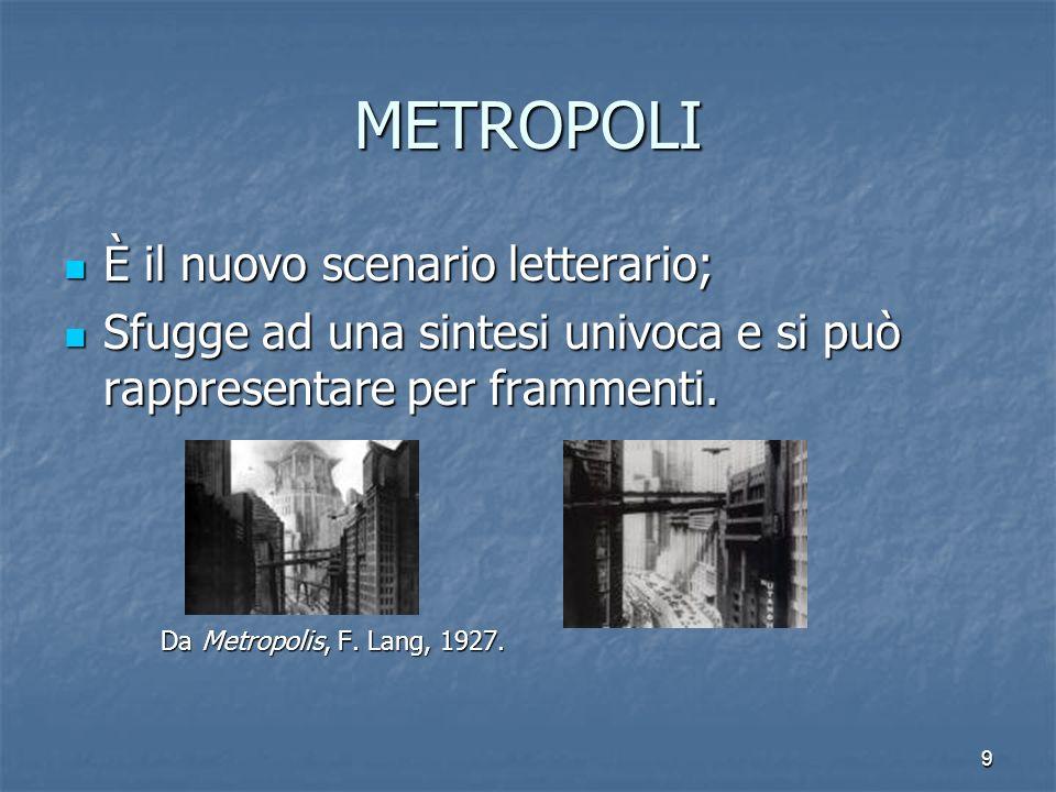 9 METROPOLI È il nuovo scenario letterario; Sfugge ad una sintesi univoca e si può rappresentare per frammenti. Da Metropolis, F. Lang, 1927.
