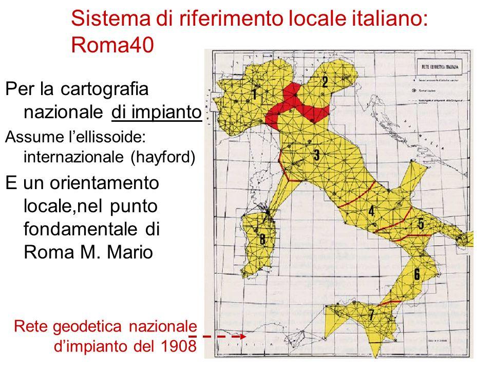 Sistema di riferimento locale italiano: Roma40 Per la cartografia nazionale di impianto Assume lellissoide: internazionale (hayford) E un orientamento