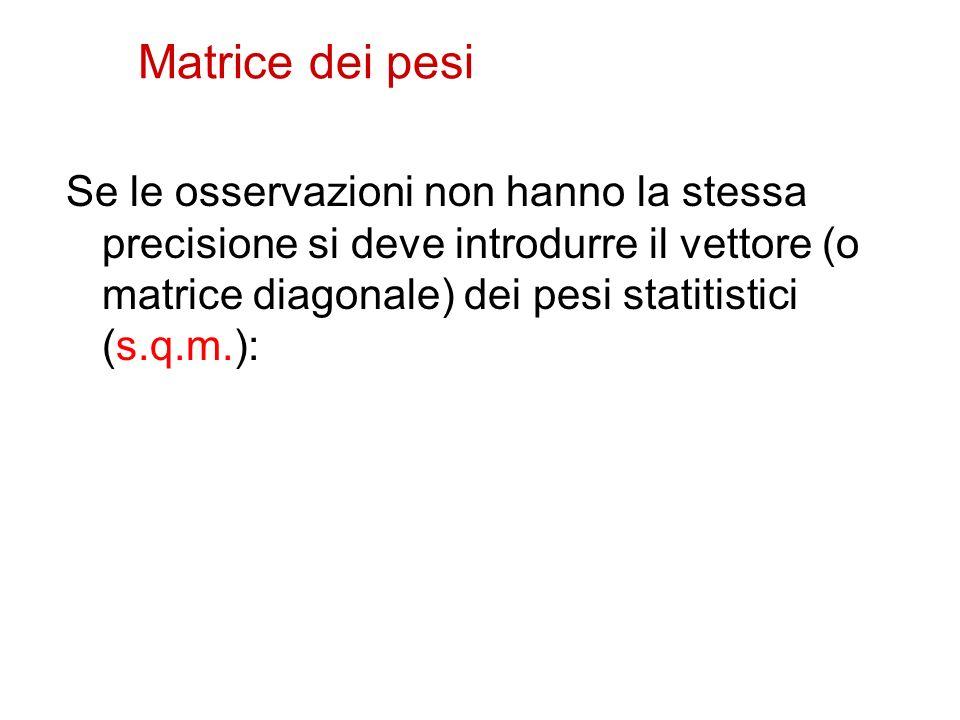 Matrice dei pesi Se le osservazioni non hanno la stessa precisione si deve introdurre il vettore (o matrice diagonale) dei pesi statitistici (s.q.m.):