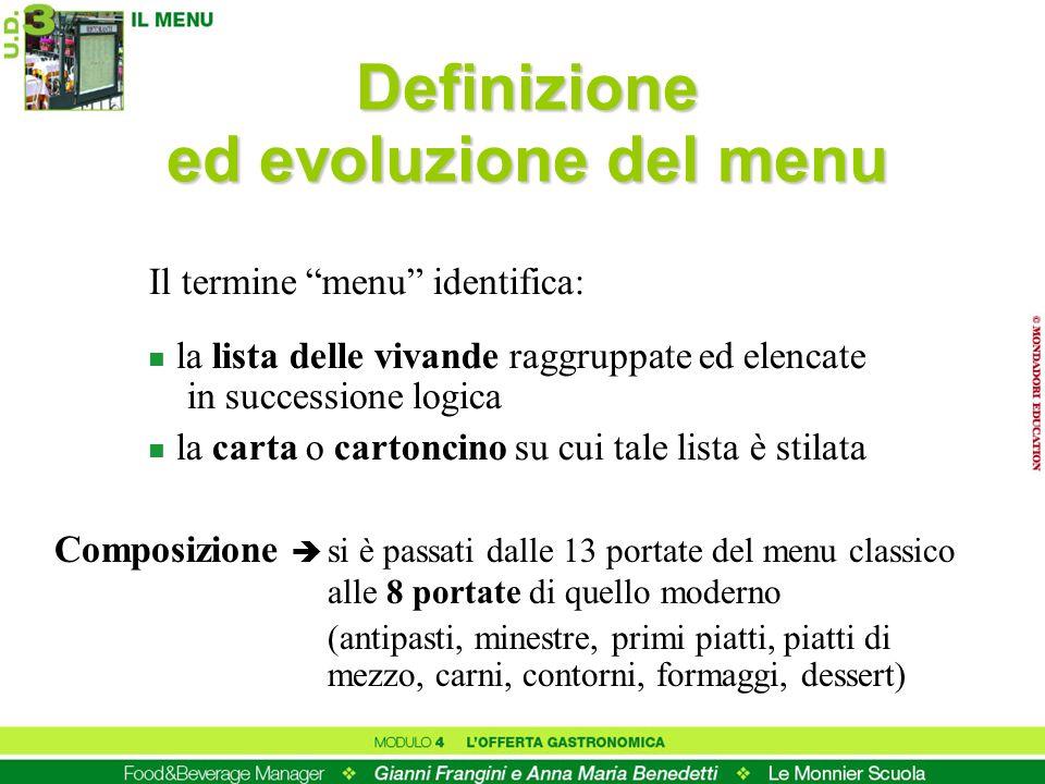 Definizione ed evoluzione del menu Il termine menu identifica: n la lista delle vivande raggruppate ed elencate in successione logica n la carta o car